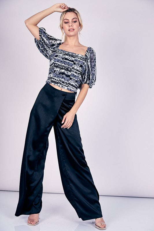 Overlapping Wide Leg Pants