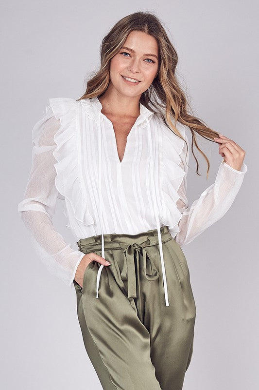 Ruffle Your Feathers Ruffle + Pleated Blouse