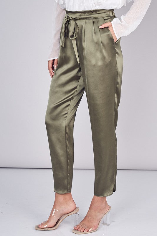 Belted Pleated Paper Bag Pants - Olive