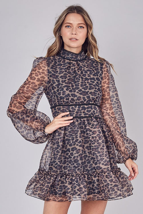 Feeling Fancy Leopard Print Mock Neck Organza Dress