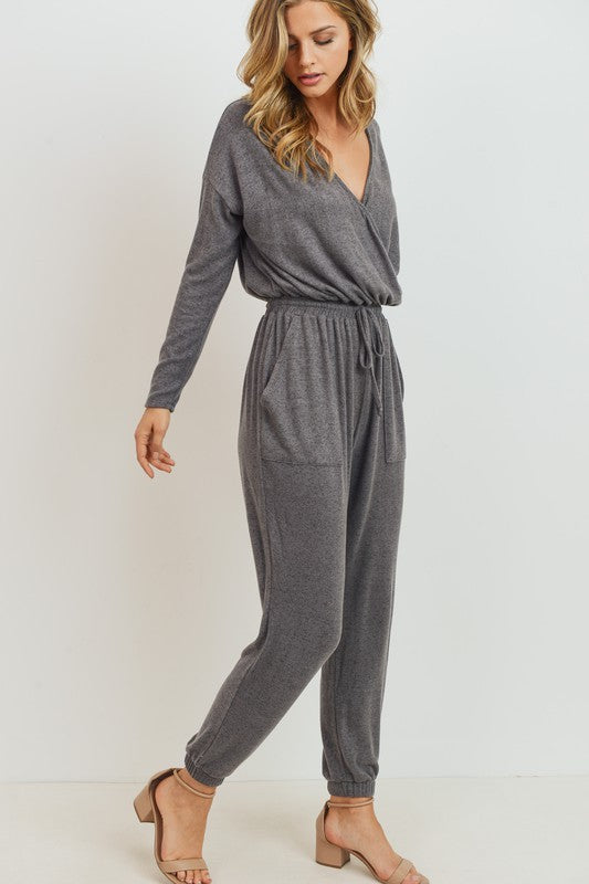Wear Anywhere Drawstring Waist Surplice Knit Jumpsuit