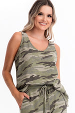 Love is War Camo Print Scoop Neck Thermal Tank Top