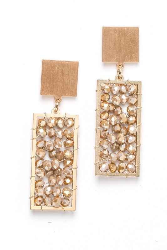 Blair Beaded Rectangle Drop Earrings - Brown