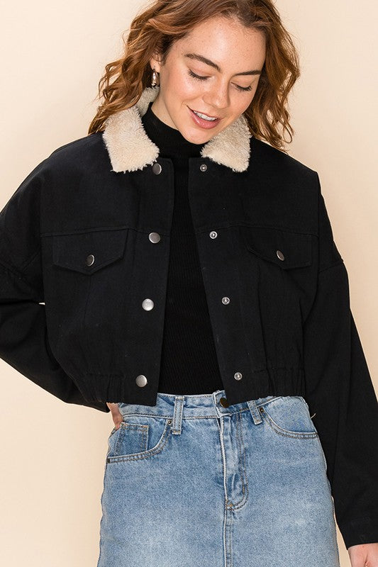Fur-get About It Fur Lined Crop Jacket - Black