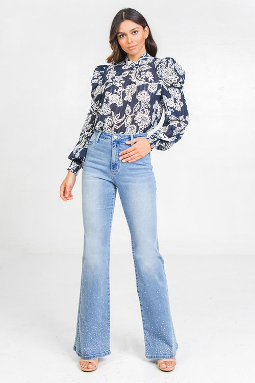 Paisley Print Puff Sleeve Blouse