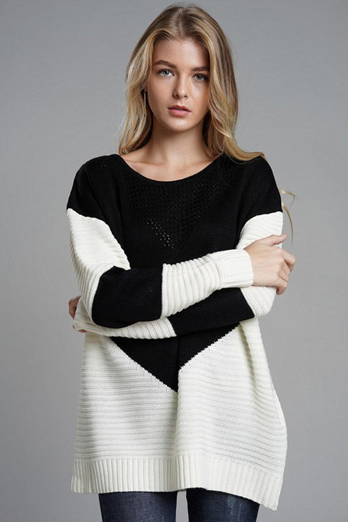 Color Block Long Body Knit Sweater