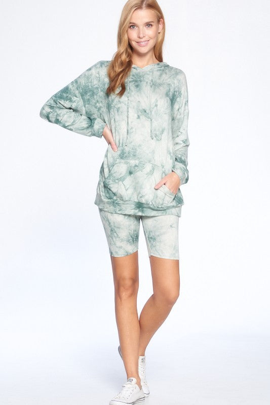 Ride or Tie Dye Hoodie + Biker Shorts Set