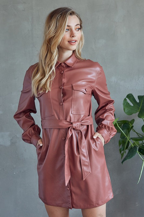 Button Down Faux Whatever Faux Leather Mini Dress