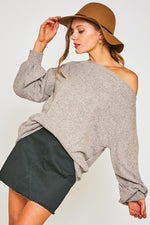 Boat Neck Soft Brushed Rib Knit Sweater - Oatmeal