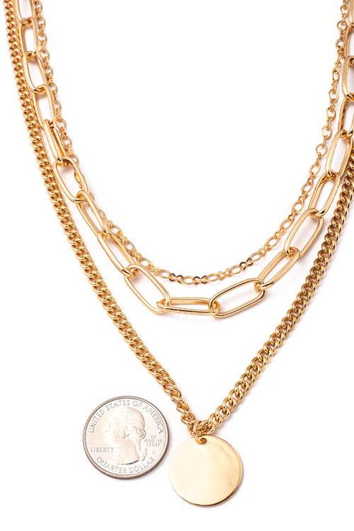 Layered Multi-Chain Charm Necklace