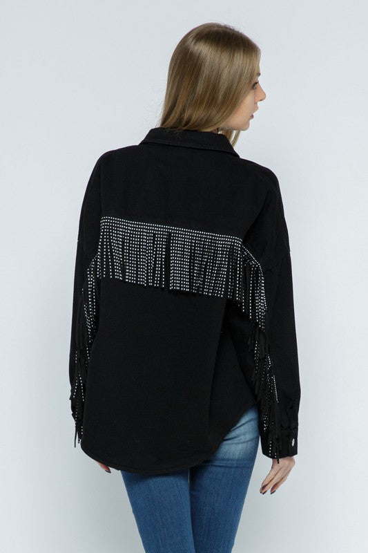 Our West Behavior Studded Fringe Denim Jacket