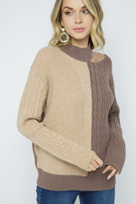 Color Block Turtle Neck One Side Cold Shoulder