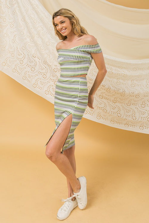 Crossing Paths Knit Top and Skirt Set
