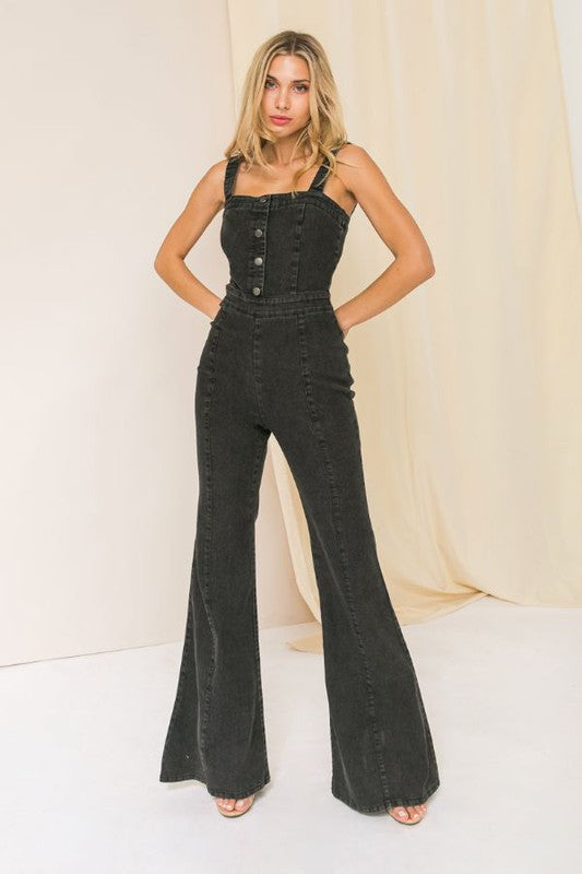 Acid Wash Denim Flare Jumpsuit