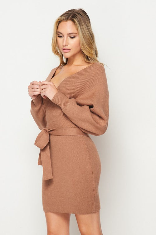 Knit Happens Waist Tie Faux Wrap Sweater Dress
