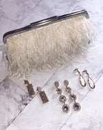 Feather a Dull Moment Evening Clutch - Ivory