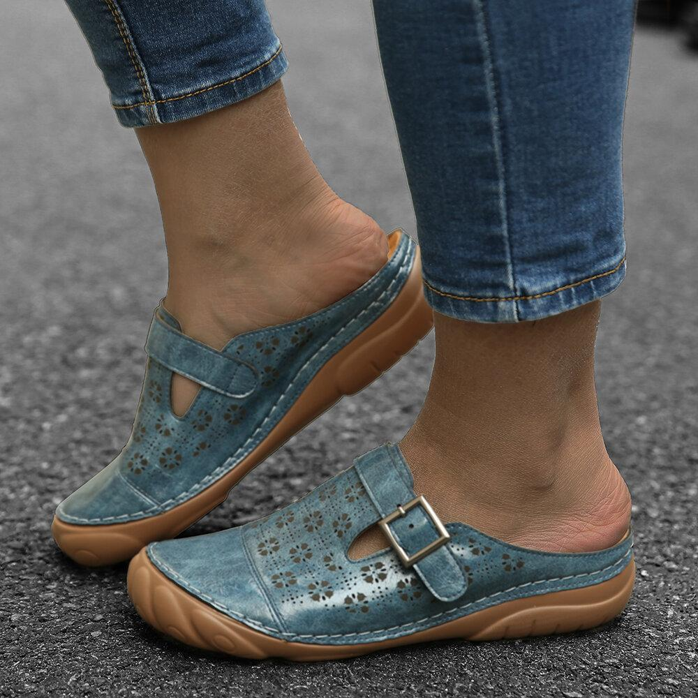 Womens Flower Hollow Out Breathable Leather Flat Sandals  Walking Shoes **Special Discount **