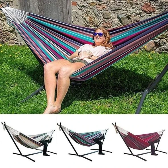 Double Cotton Hammock with Space Saving Steel Stand-The ultimate comfortable leisure hammock