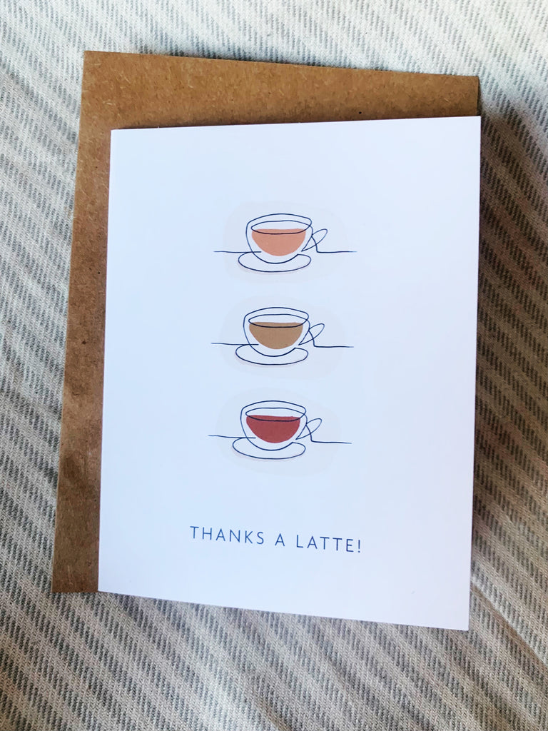 THANKS A LATTE THANK YOU CARD - lomlicoffee