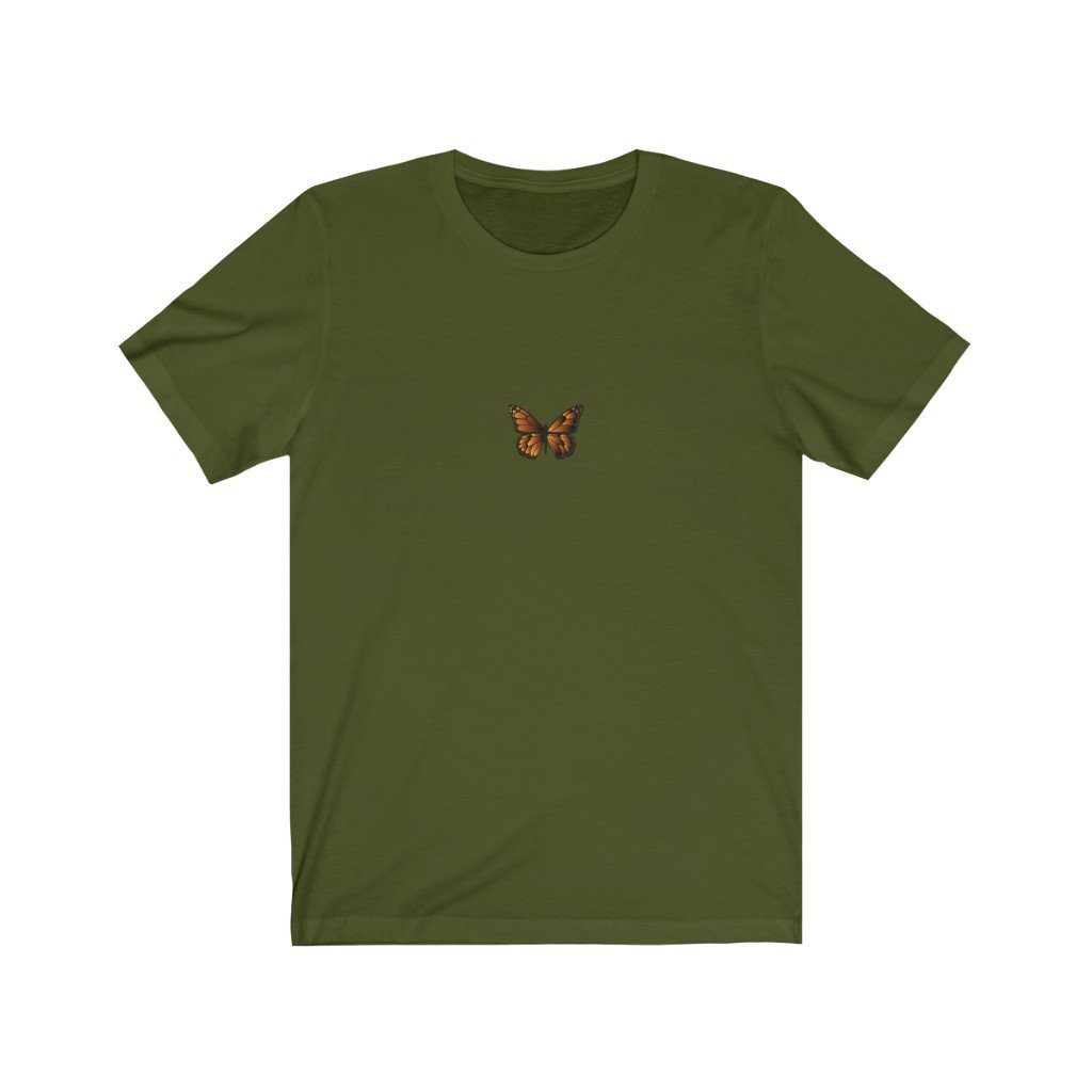 Butterfly Jersey Short Sleeve Tee T-Shirt Printify Olive L poshloox