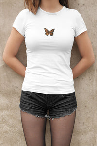 Butterfly Jersey Short Sleeve Tee T-Shirt Printify White M poshloox