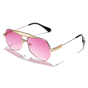 Crystal Steampunk Sunglasses Sunglasses Posh Loox Gold x Pink poshloox