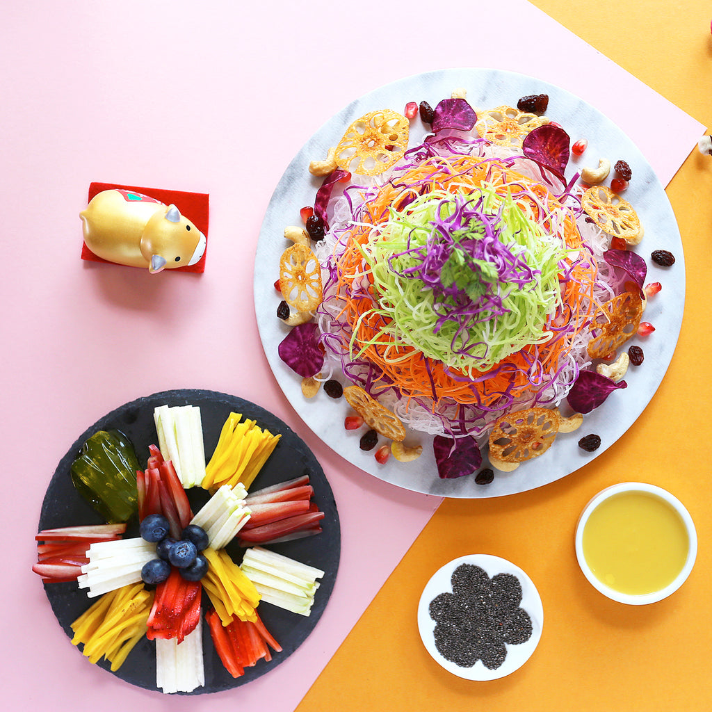 """Blossom"" Fresh Fruits Yu Sheng with Chia Seeds and Pineapple Sauce"