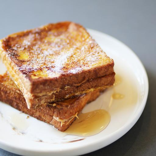 French Toasts with Peanut Butter served with Maple Syrup