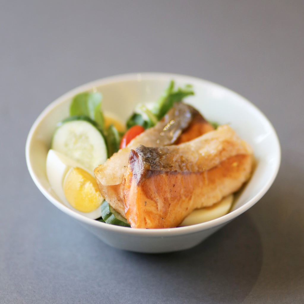 Grilled Salmon & Hard Boiled Egg served with Garden Greens