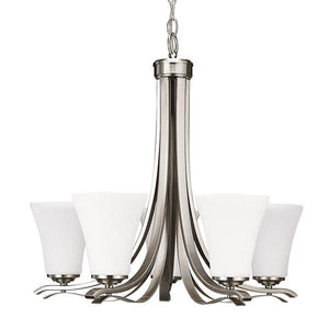 "23.50"" Nickel with White Glass Chandelier - LV LIGHTING"