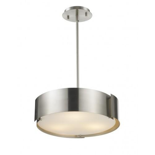 3 Light Pendant; Metal Shade glass in a Brushed Nickel finish - LV LIGHTING