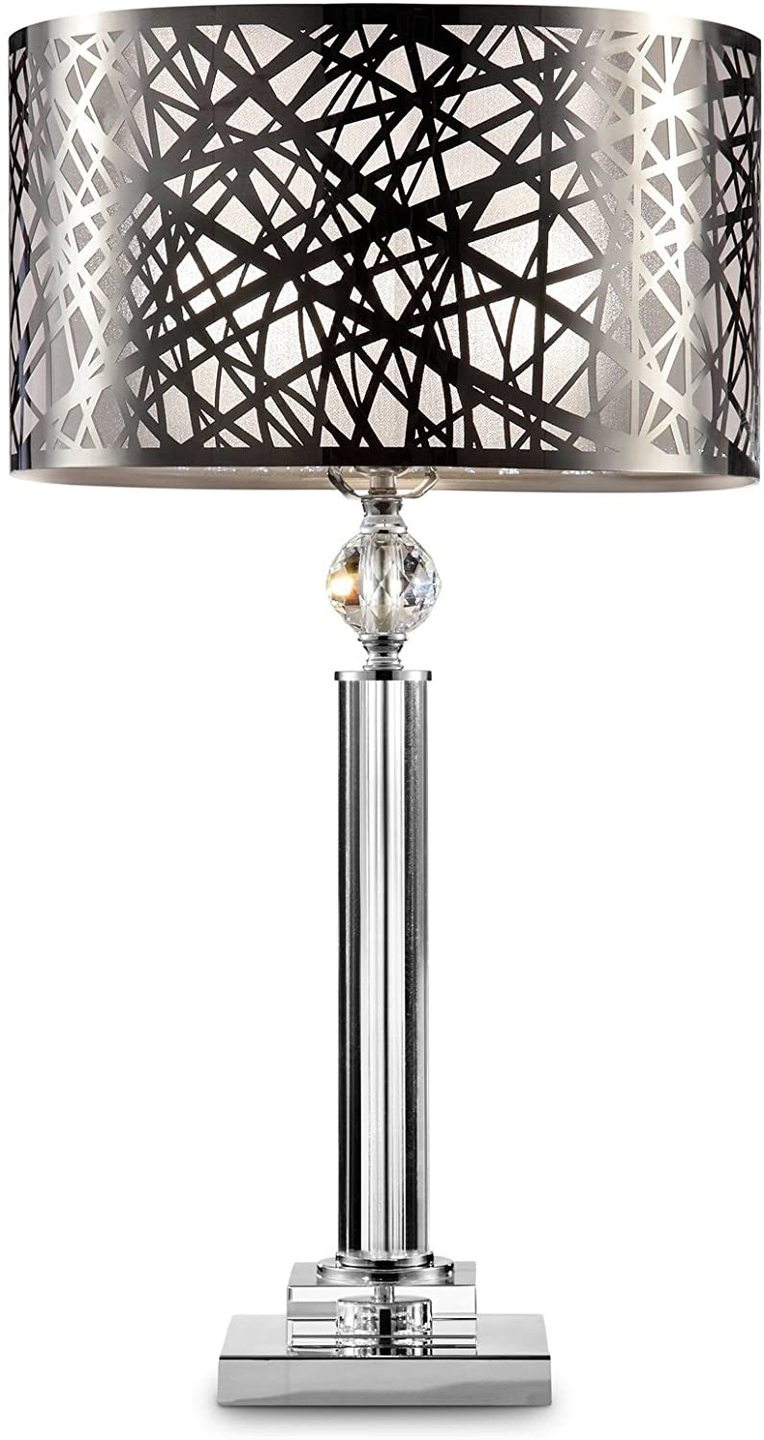 Silver Cross Lines Table Lamp - LV LIGHTING