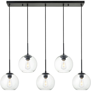 "8"" Black with Multiple Clear Shade Pendant - LV LIGHTING"