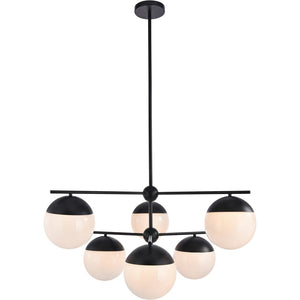 "36"" Black with Multiple Frosted Shade Pendant - LV LIGHTING"