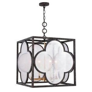 "22"" Dark Rusted Bronze Cage with White Glass Shade Pendant - LV LIGHTING"
