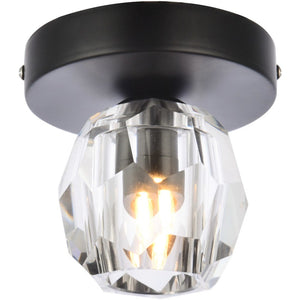 "5"" Black with Crystal Flush Mount - LV LIGHTING"