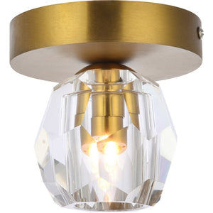 "5"" Gold with Crystal Flush Mount - LV LIGHTING"