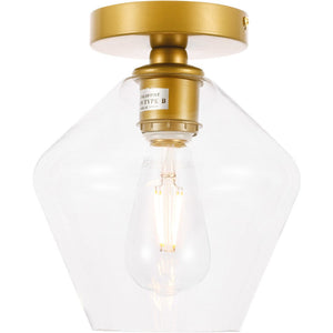 "8"" Gold with Clear Glass Pendant - LV LIGHTING"