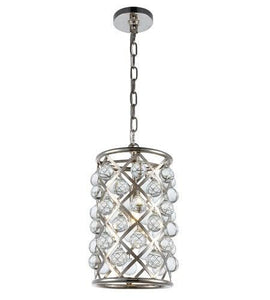 "8"" Polished Nickel with Crystal Pendant"