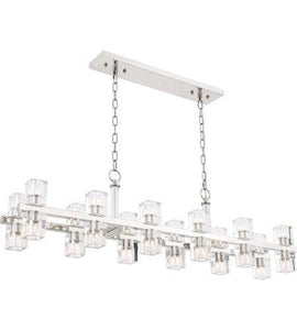 "9"" Polished Nickel with Crystal Pendant 24 Lights"