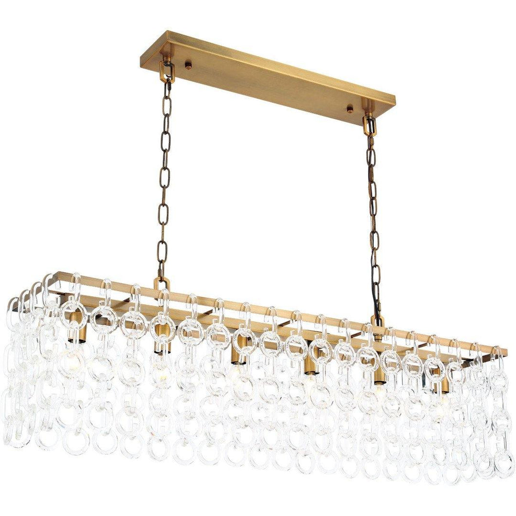Brass with Crystal Pendant 6 Lights