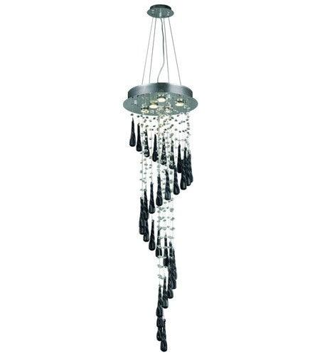 Chrome with Dark Crystal Pendant 5 Lights