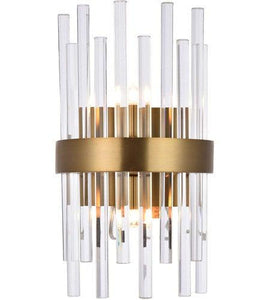 "8"" Gold with Clear Crystal Wall Sconce"