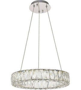"18"" LED Chrome with Crystal Pendant"