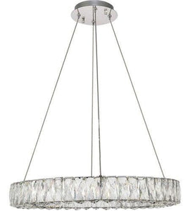 "24"" LED Chrome with Crystal Pendant"