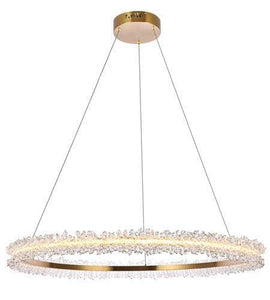 "34"" LED Gold with Crystal Single Ring Pendant"