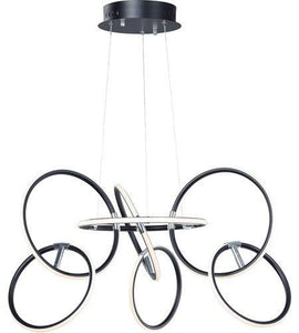 "32"" LED Black with Chrome Multiple Ring Chandelier"
