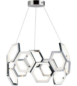 "30"" LED Chome Hive Chandelier"