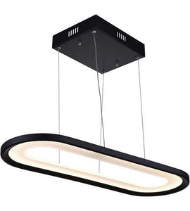 "27"" LED Matte Black Rectangle with Round Edge Chandelier"
