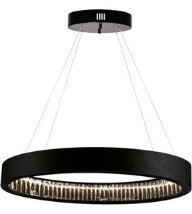 "16"" LED Matte Black with Crystal Ring Pendant"